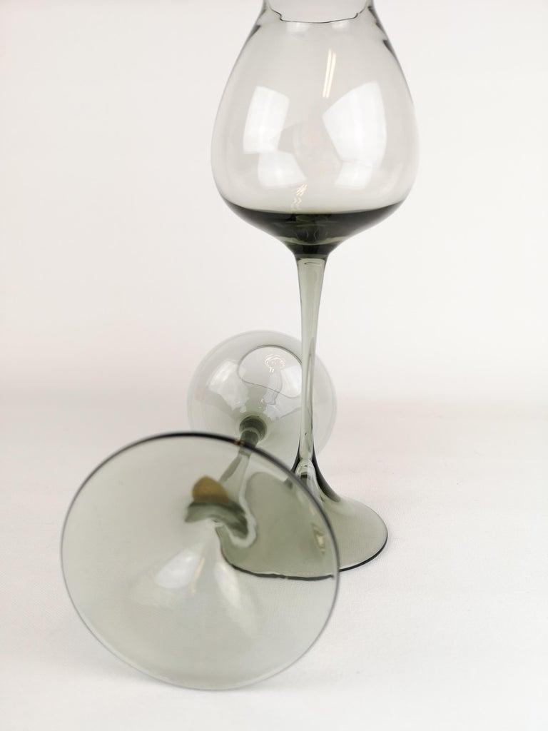 Art Glass Midcentury Pair of Orrefors Tulip, Grey-Tinted Glass Nils Landberg For Sale