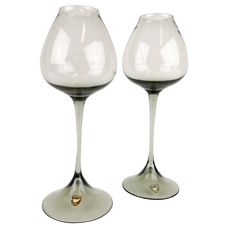 Midcentury Pair of Orrefors Tulip, Grey-Tinted Glass Nils Landberg For Sale