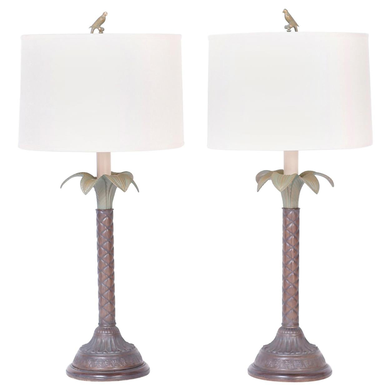 Midcentury Pair of Palm Tree Tole Table Lamps