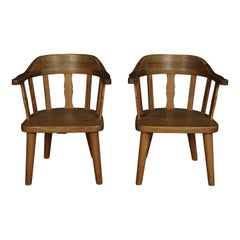 Midcentury Pair of Pine Armchairs from Sweden, 1960s
