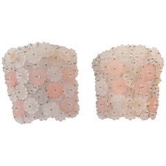 Midcentury Pair of Pink and White Flower Wall Sconces Murano, Italy