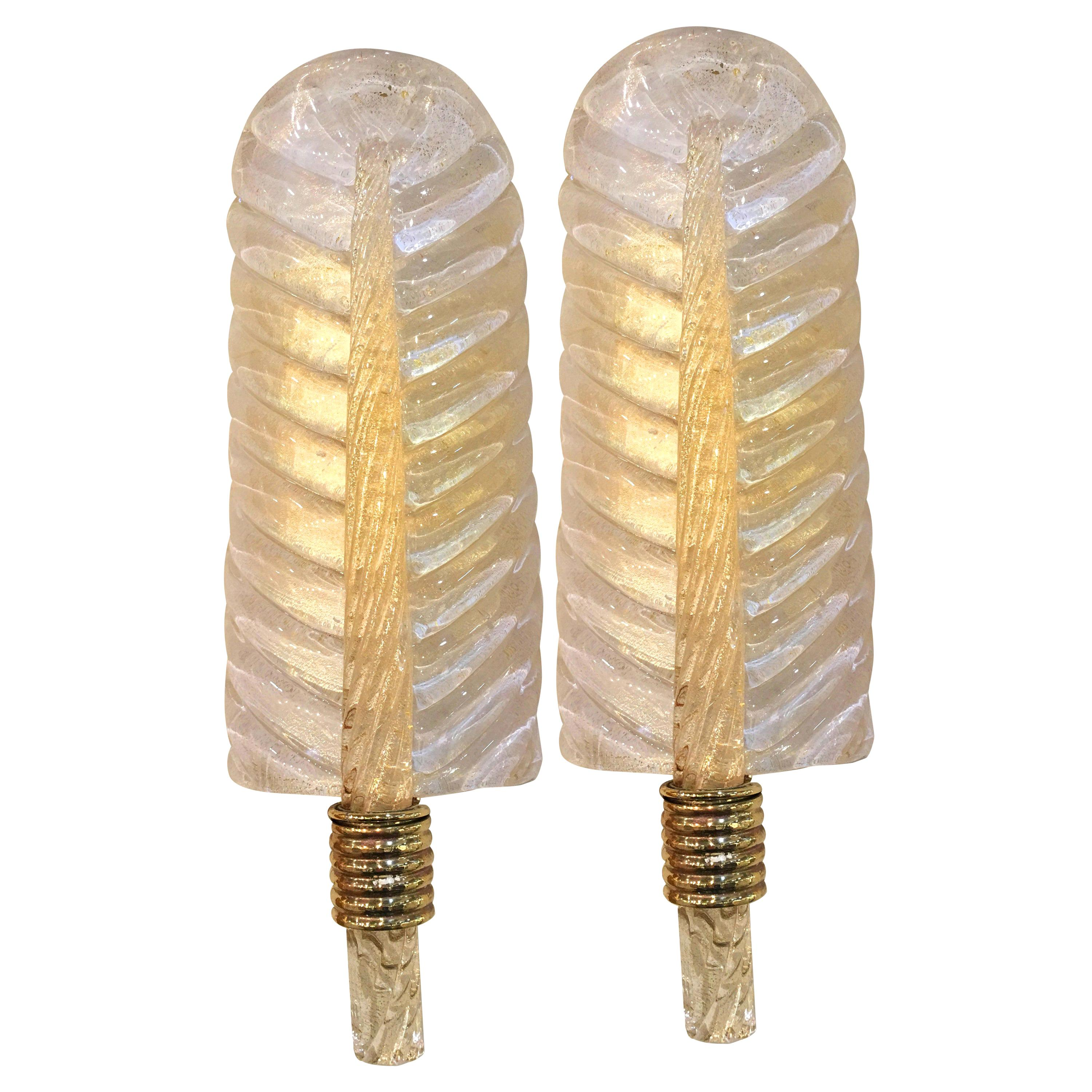 Midcentury Pair of Sconces 24-Karat Gold by Barovier & Toso, Murano, 1980s