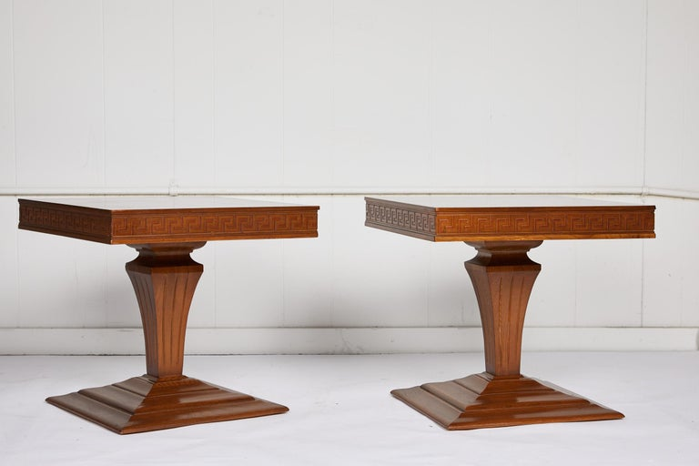 Regency Midcentury Pair of Side Tables with Greek Key Detail For Sale
