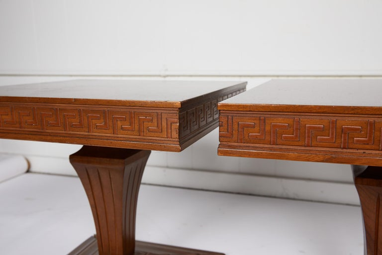 Midcentury Pair of Side Tables with Greek Key Detail In Good Condition For Sale In Atlanta, GA