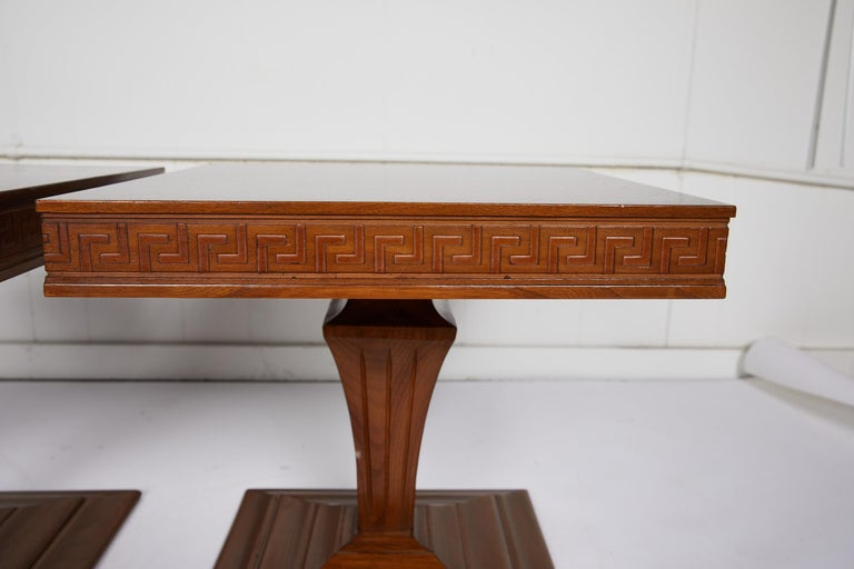 20th Century Midcentury Pair of Side Tables with Greek Key Detail For Sale