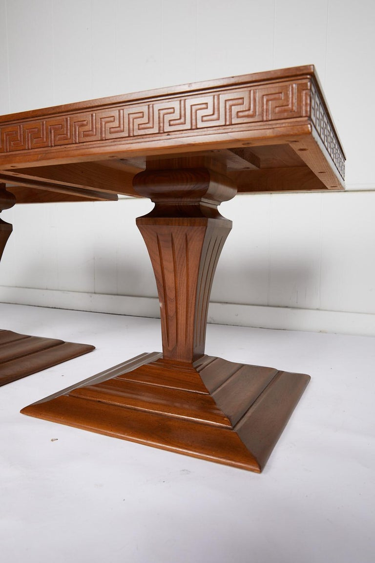 Midcentury Pair of Side Tables with Greek Key Detail For Sale 1