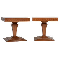 Midcentury Pair of Side Tables with Greek Key Detail