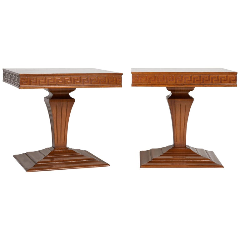 Midcentury Pair of Side Tables with Greek Key Detail For Sale