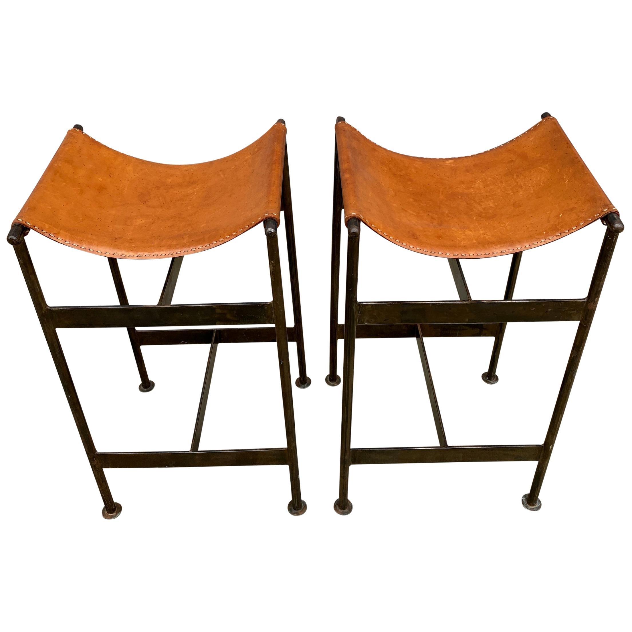 Midcentury Pair of Steel and Leather Sling Stools Style of William Katavolos