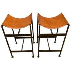 Midcentury Pair of Steel and Leather Sling Stools Style of William Katavolos
