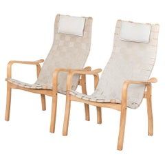 Midcentury Pair of Swedish Easy Chairs by Yngve Ekström for Swedese