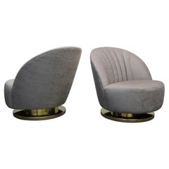 Midcentury Pair of Swivel Slipper Chairs with Brass Bases by Milo Baughman