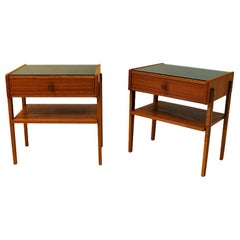 Midcentury Pair of Teak and Glass Top Night Tables, Sweden, 1960s