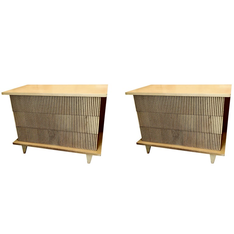Midcentury Pair of Three-Drawer Commodes, United States For Sale