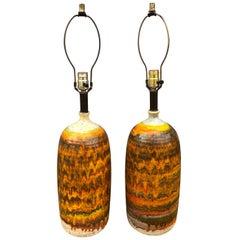 Midcentury Pair of Unique Lava Glaze Ceramic Table Lamps