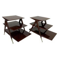 Mid Century Pair of Walnut and Brass Three-Tier Tables in the Style of Ico Paris