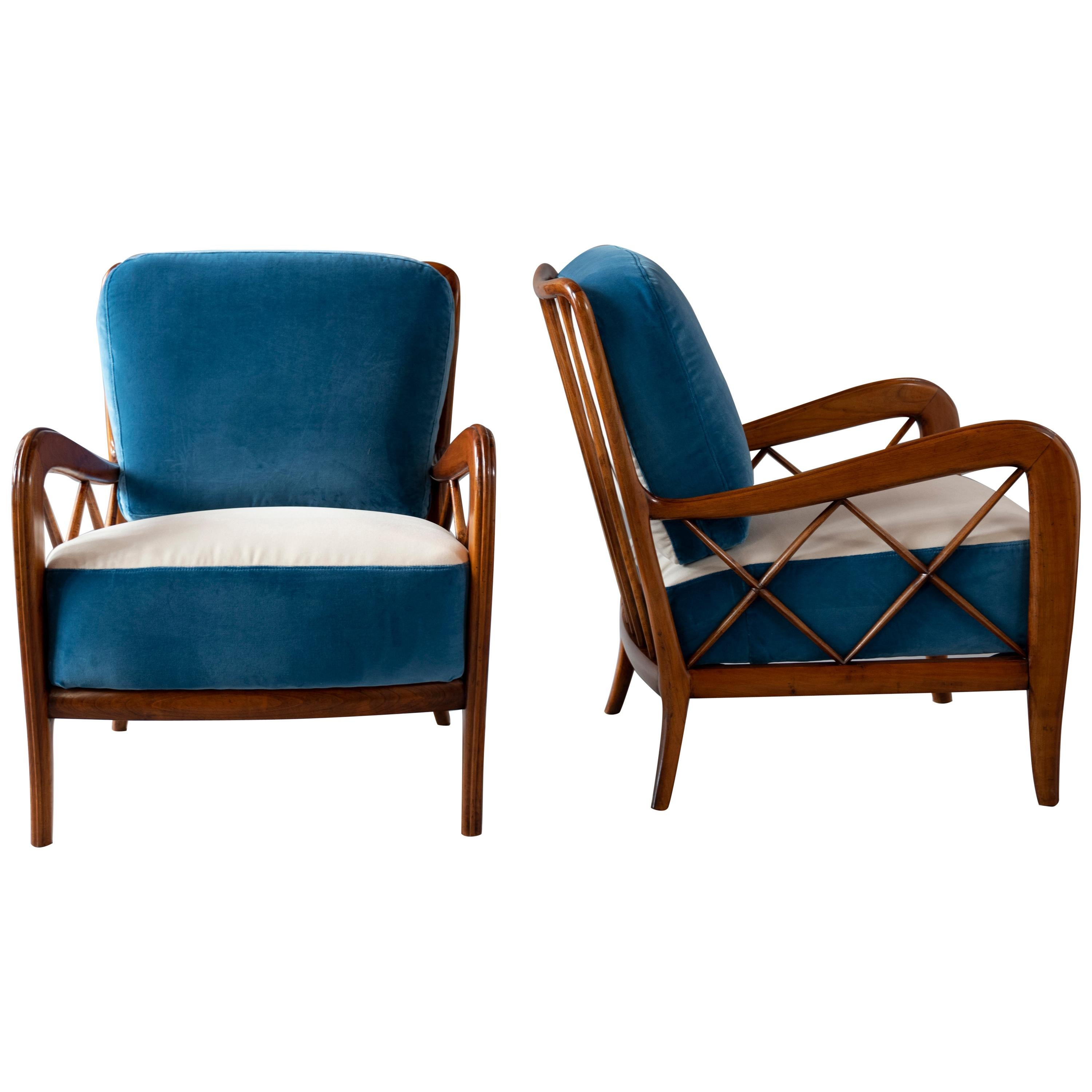 Midcentury Pair of Walnut Armchairs by Paolo Buffa