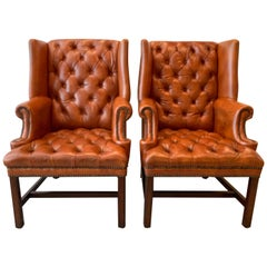 Midcentury Pair of Warm Terracotta Leather Library Chairs with Brass Nail Heads
