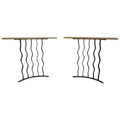 Midcentury Pair of Wrought Iron Console Tables