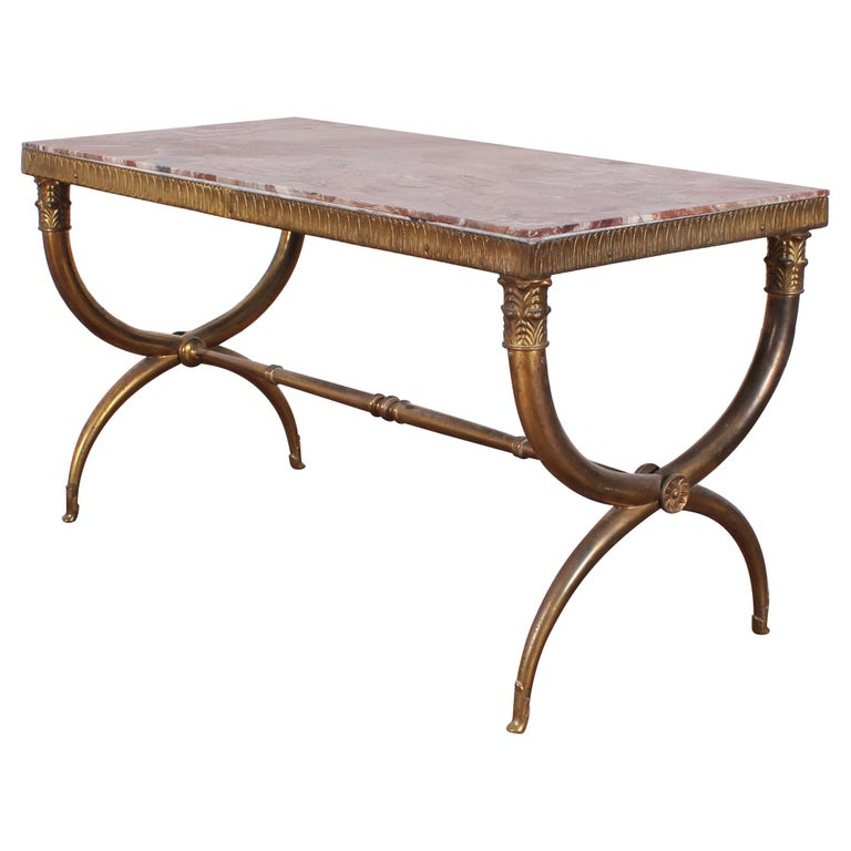 Midcentury Paolo Buffa Marble and Brass Coffee Table, 1950s, Italy For Sale