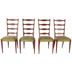 Midcentury Paolo Buffa Style High Espalier Dining Chairs, Set of 4, 1950s, Italy