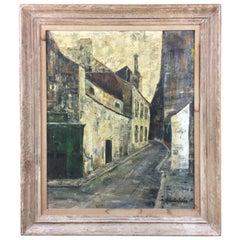 Midcentury Paris Street Scene Oil on Canvas signed Robert Soler, circa 1955