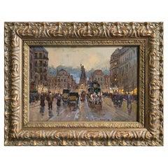 Midcentury Parisian Street Oil Painting in Gilt Frame Signed R. de Chatelenne