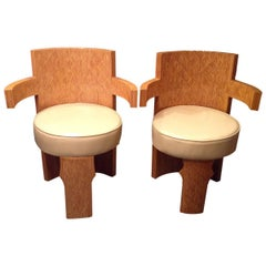 Pair of  Modern  Parquetry Barrel Armchairs