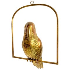 Midcentury Parrot Bird Hanging Sculpture