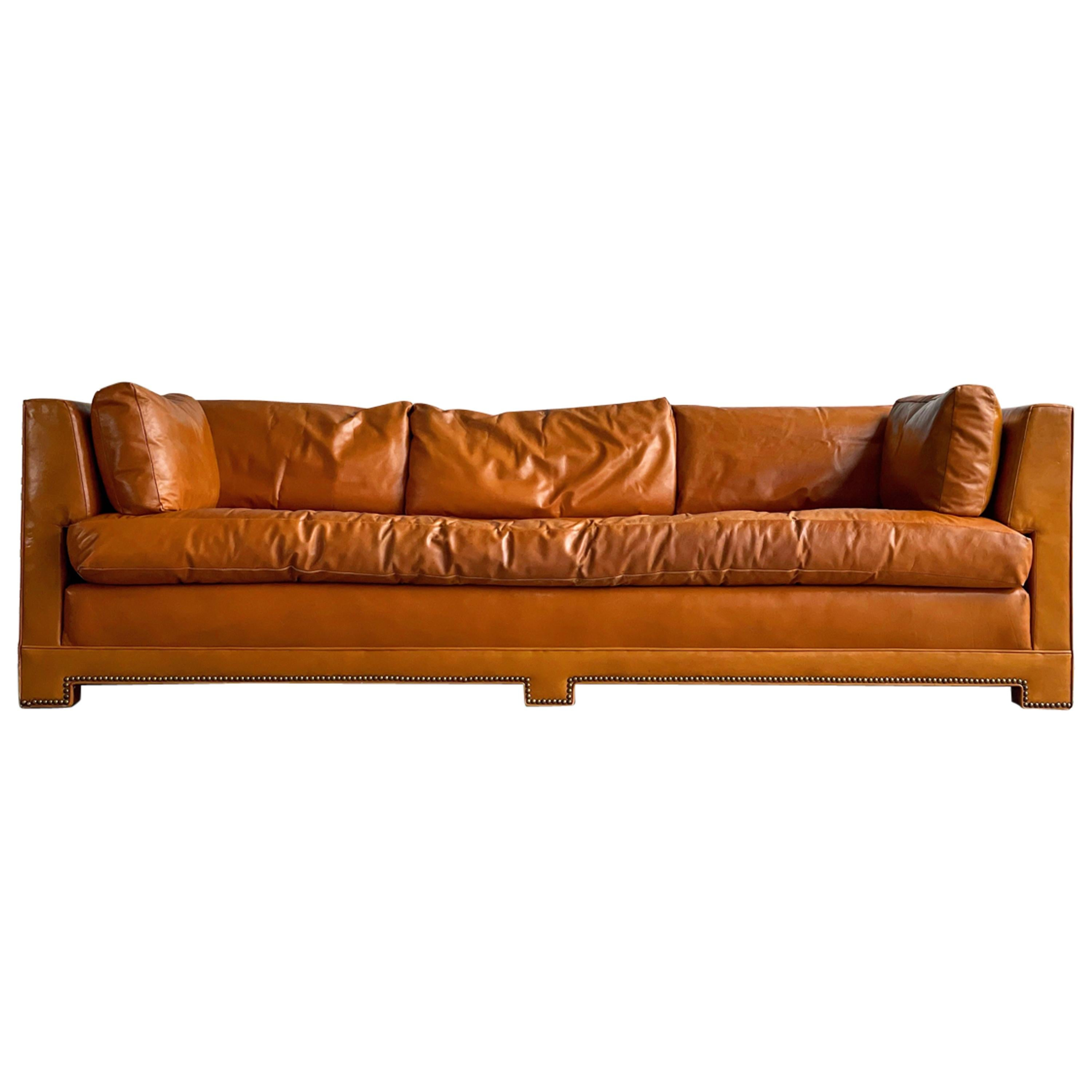 Midcentury Parsons Sofa by John Widdicomb in Original Cognac Leather and Down