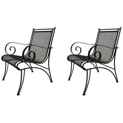 Midcentury Partial Gilt Wrought Iron Lounge Chairs Attributed to Rene Prou, Pair