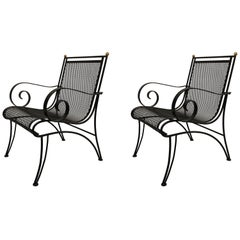 Midcentury Partial-Gilt Wrought Iron Lounge Chairs Attributed to René Prou, Pair