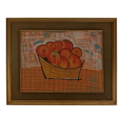 Midcentury Pastel Still Life Oranges Painting by Jacobo, 1964