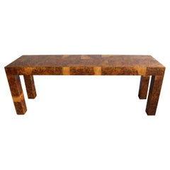 Midcentury Patchwork Burlwood Table by Paul Evans