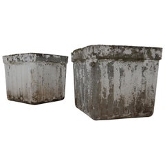 Midcentury Patinated Planters by Swiss Architect Willy Guhl for Eternit