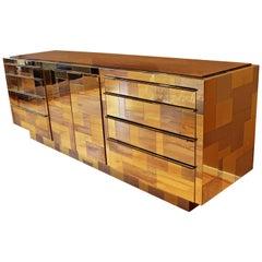 Midcentury Paul Evans Brass Chrome Rosewood Cityscape Dresser Credenza, 1970s