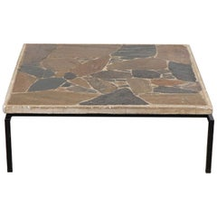 Midcentury Paul Kingma Inspired Heavy Stone Mosaic Coffee Table