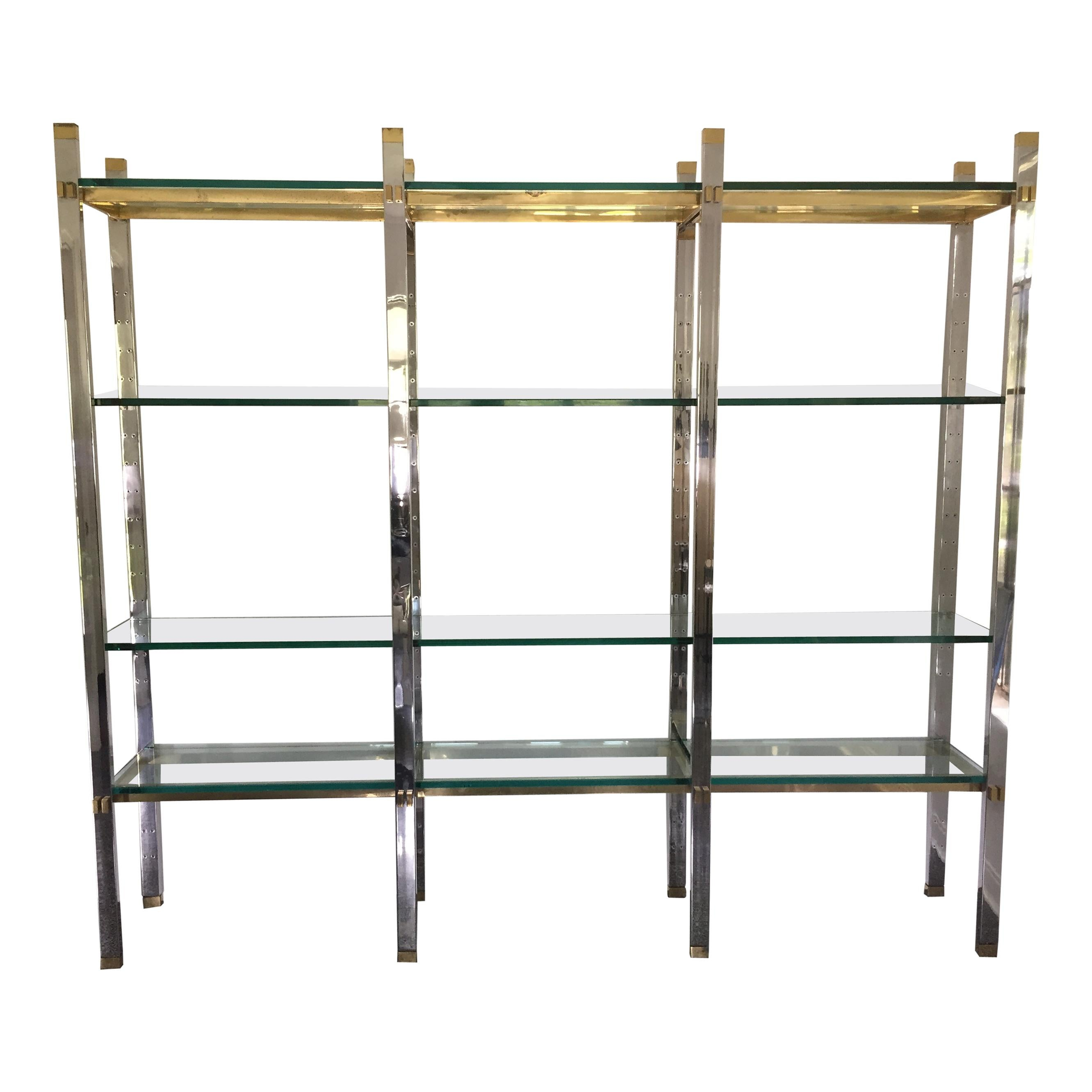 Midcentury Paul M. Jones Stainless Steel and Brass Étagère, 3 Sections
