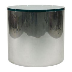 Midcentury Paul Mayen for Habitat Chrome and Glass Top Drum Side Table, 1970s