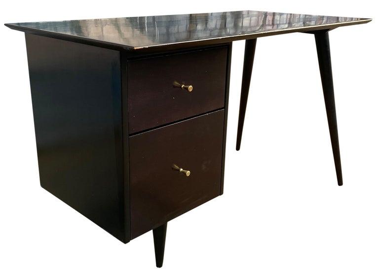 Mid-Century Modern Midcentury Paul McCobb #1560 Double Drawer Desk Black Lacquer Finish Brass For Sale