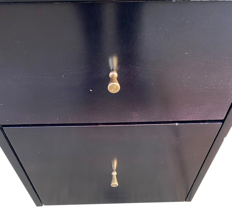 20th Century Midcentury Paul McCobb #1560 Double Drawer Desk Black Lacquer Finish Brass For Sale