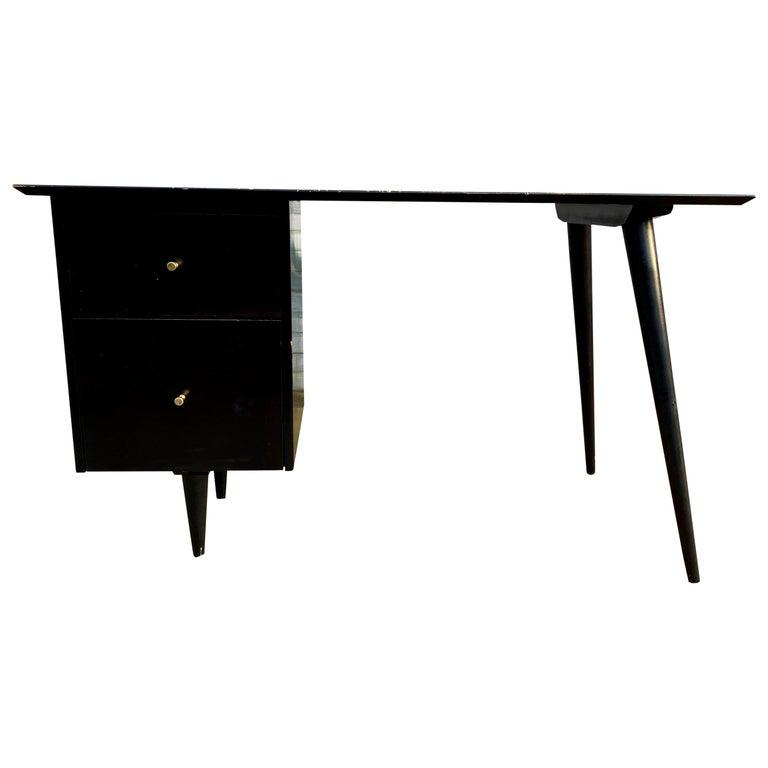 Midcentury Paul McCobb #1560 Double Drawer Desk Black Lacquer Finish Brass For Sale