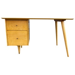 Midcentury Paul McCobb #1560 Double Drawer Desk Blonde Maple Finish Brass Pulls