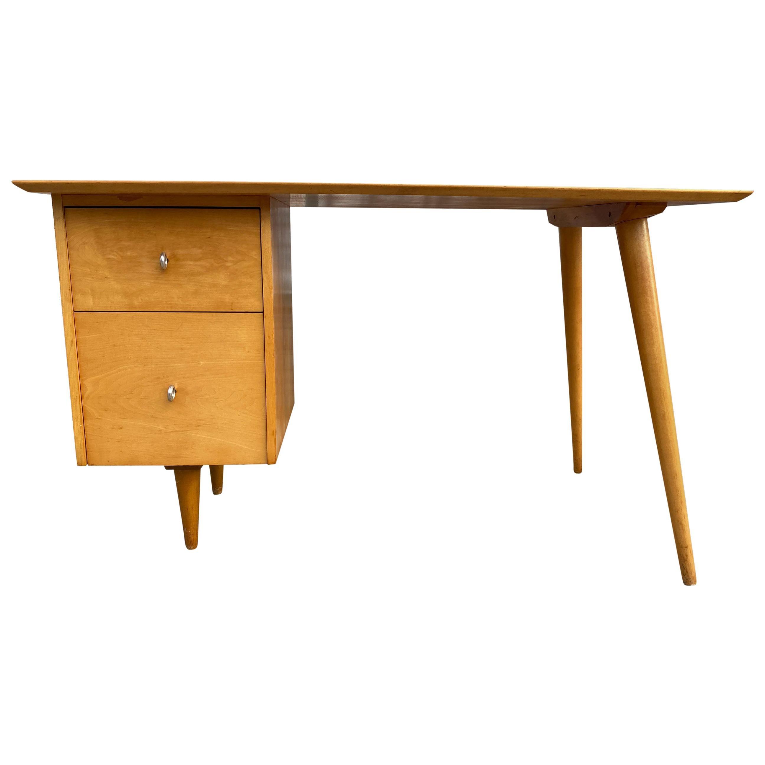 Midcentury Paul McCobb #1560 Double Drawer Desk Blonde Maple Finish Ring pulls