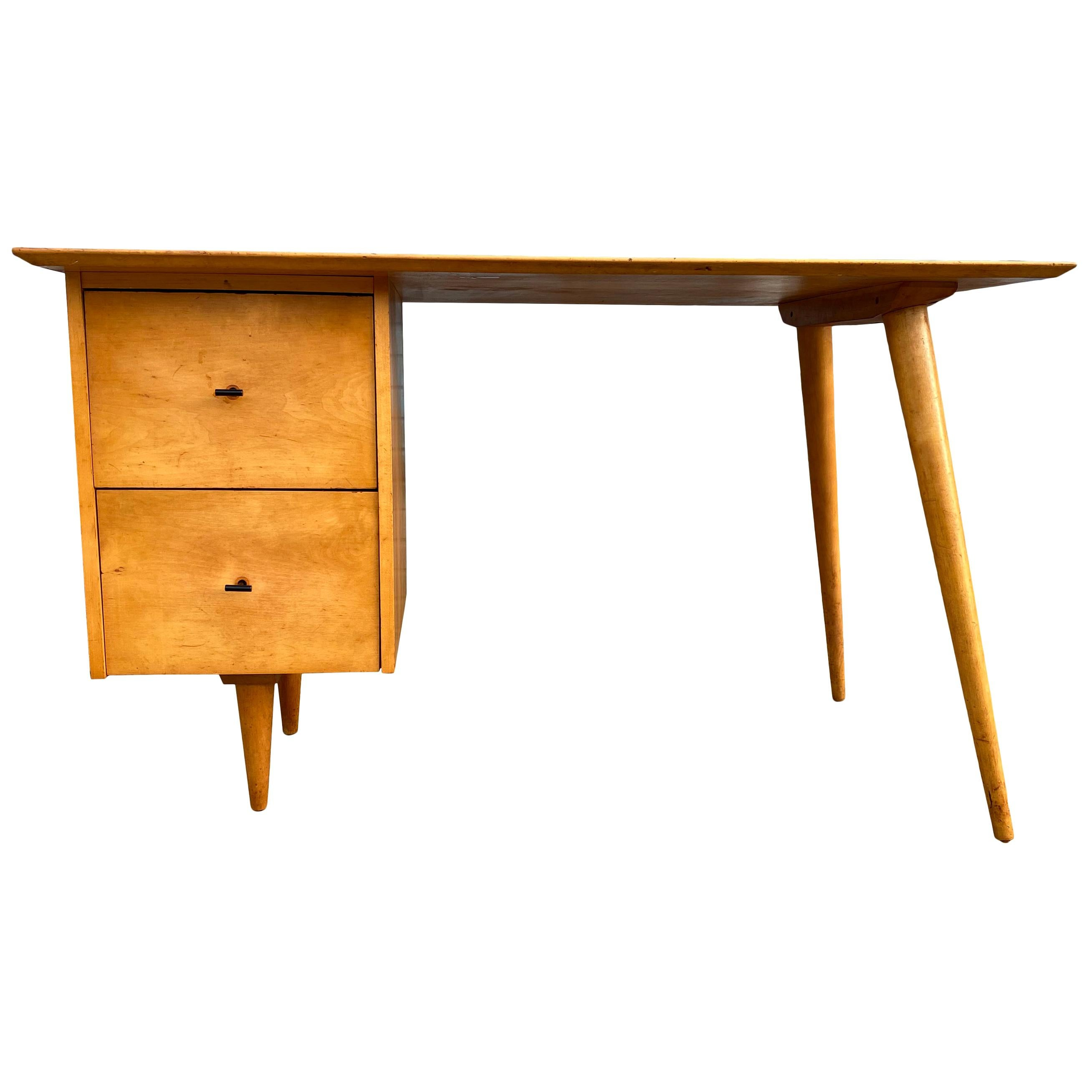Midcentury Paul McCobb #1560 Double Drawer Desk Blonde Maple Finish T Pulls