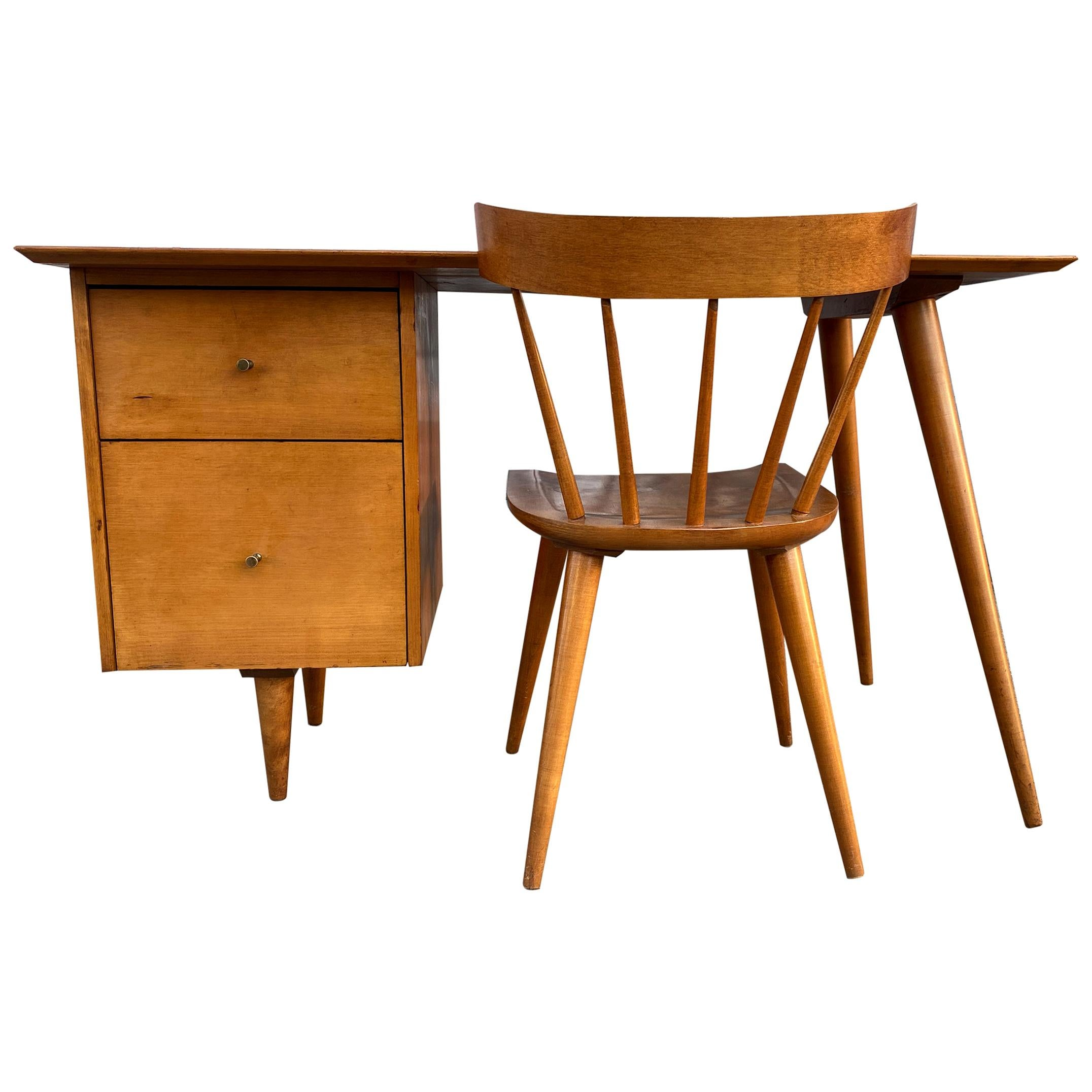 Midcentury Paul McCobb #1560 Double Drawer Desk Tobacco Maple Finish with Chair