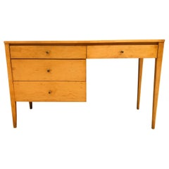 Midcentury Paul McCobb #1567 four drawer Desk Blonde Maple Finish brass Pulls