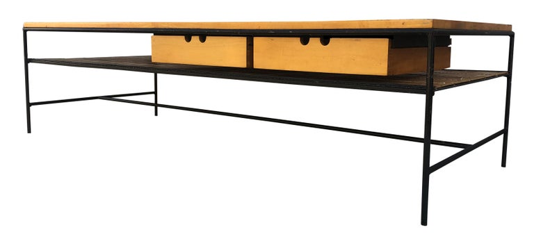 Pleasing Midcentury Paul Mccobb 1584 Coffee Table Bench Blonde Maple Iron 2 Drawer Andrewgaddart Wooden Chair Designs For Living Room Andrewgaddartcom