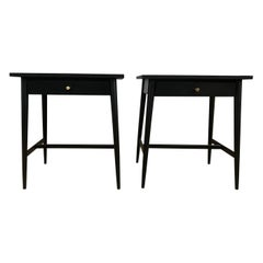 Midcentury Paul McCobb #1586 Nightstands Black Lacquer Finish Brass Knobs
