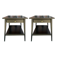 Midcentury Paul McCobb #1587 Nightstands Black Lacquer Brass Knobs End Tables